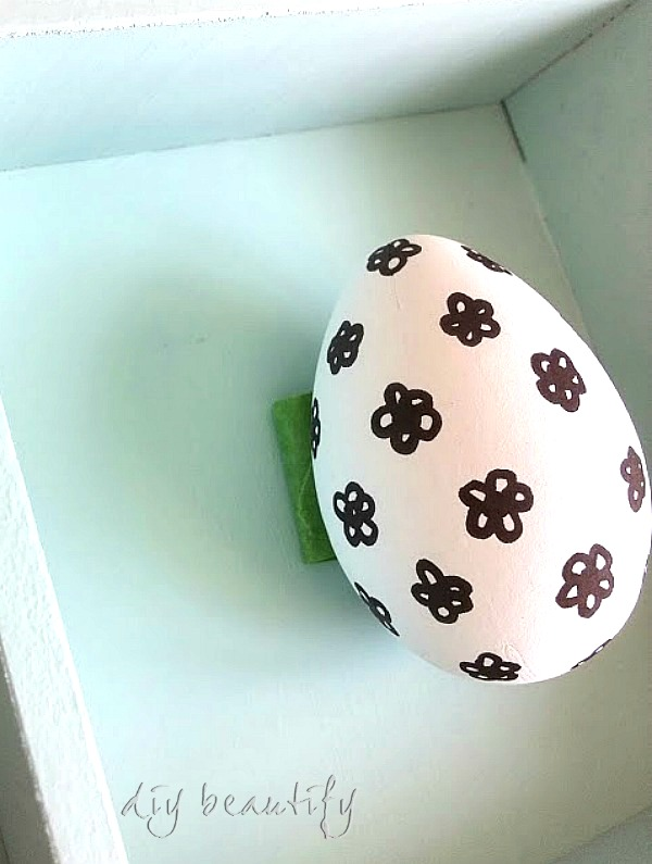 graphic eggs in cabinet DIY beautify