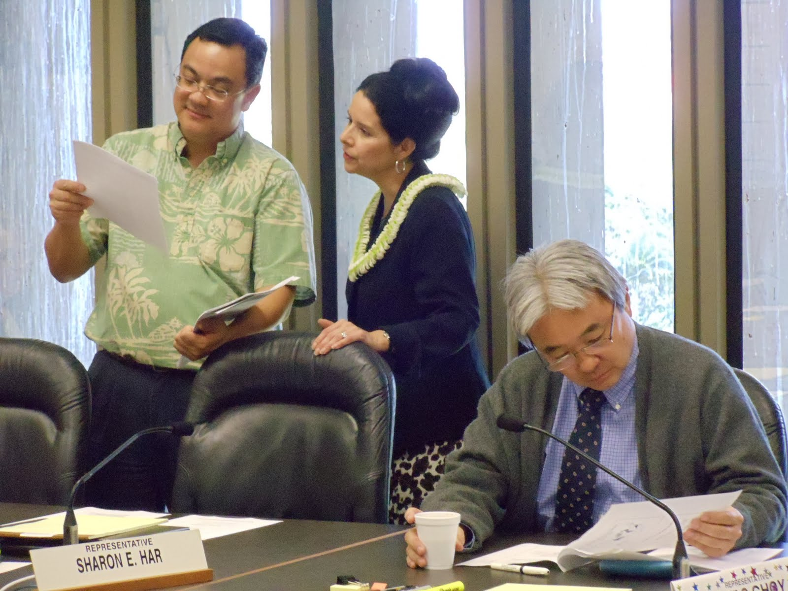 Pono Chong, NCSL's Corina Eckl and Rep. Isaac Choy in the House Finance ...