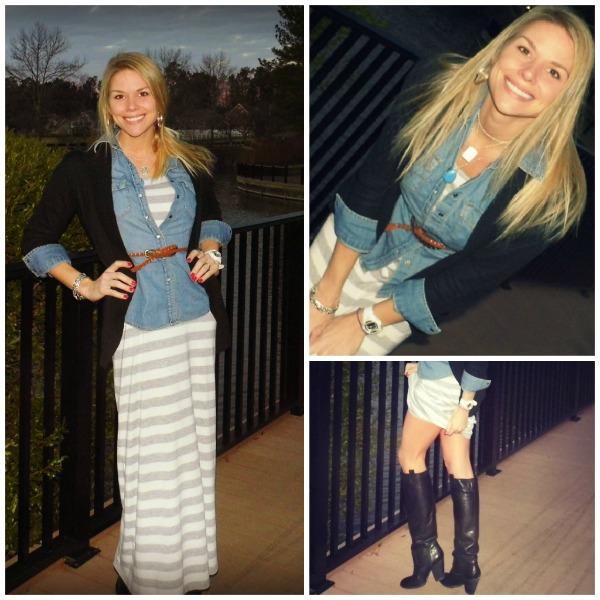 chambray denim with maxi dress, skinny belt with chambray shirt