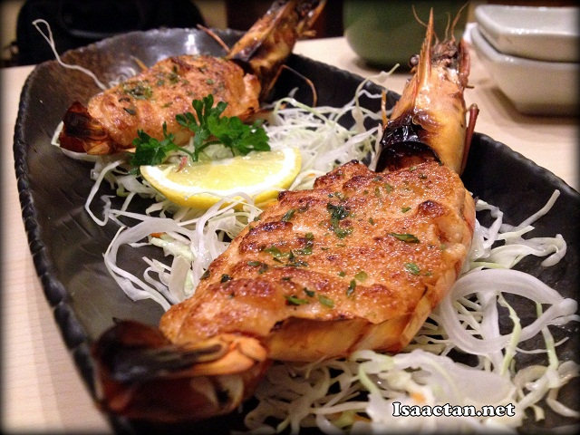 King Tiger Prawns topped with mentai