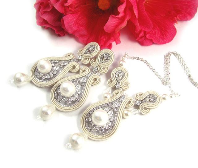 Naszyjnik i kolczyki ślubne sutasz ivory z perłami