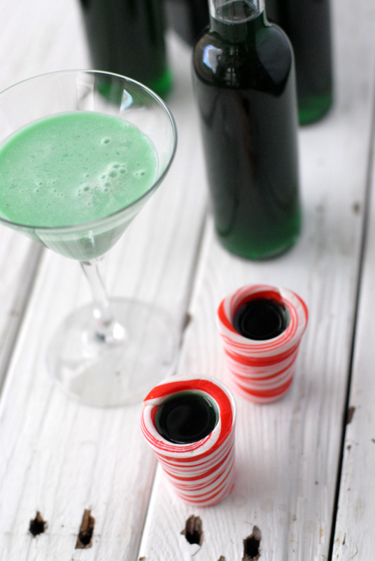 ... and shots of Crème de Menthe in edible candy cane shot 'glasses