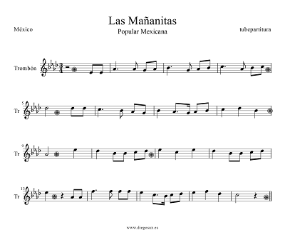 Partitura de Las Mañanitas para Trombón Tradicional Mexicana
