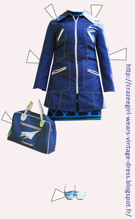 Concorde stewardess bag -  Emmaus  Slingback shoes - Yard sales   Spring Coat and Dress- Etsy vintage 60s 70s 1960 1970 mod harlequin diamond pattern