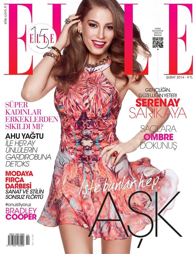 Serenay Sarikaya Elle Turkey Magazine Cover February 2014 HQ Scans