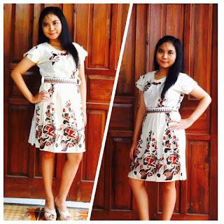 Baju Dress Batik motif batu warna putih