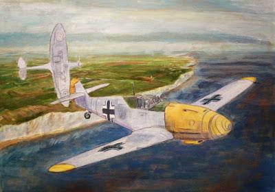 Primera sesión óleo volando sobre Dover - Batalla de Inglaterra