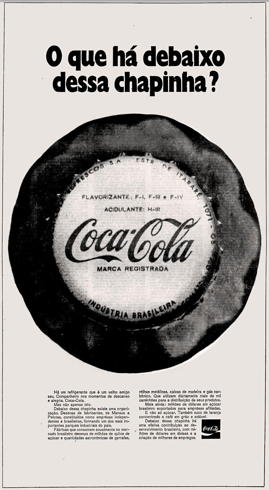 Coca Cola; os anos 70; propaganda na década de 70; Brazil in the 70s, história anos 70; Oswaldo Hernandez;