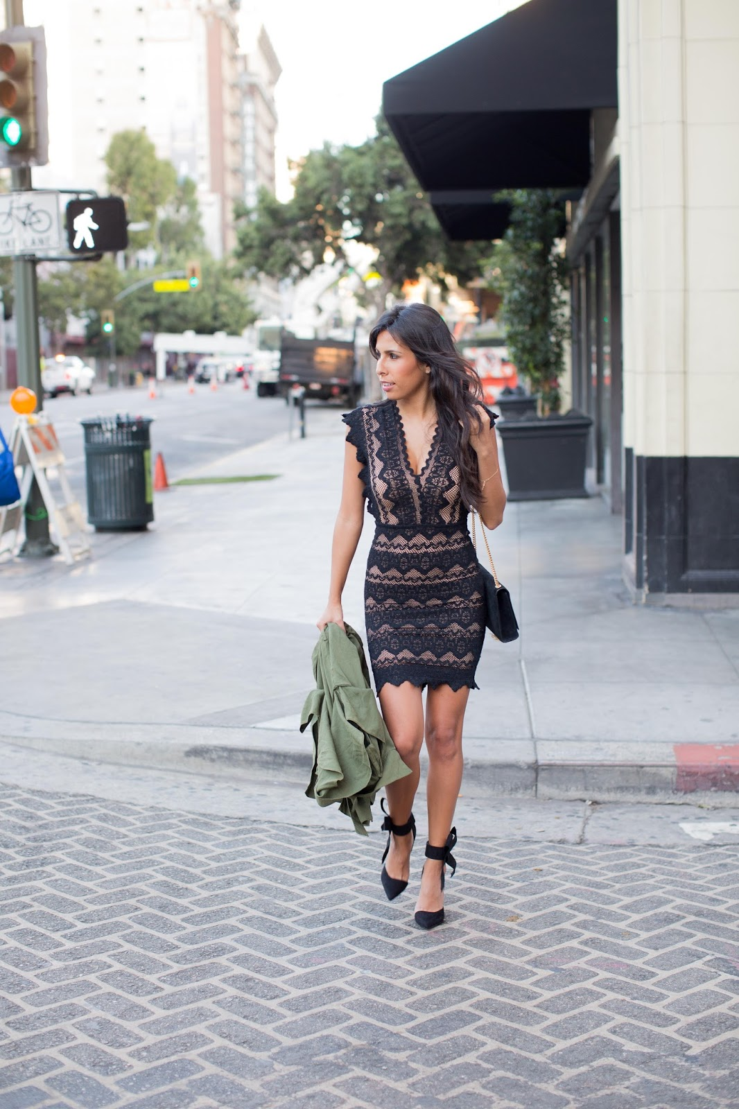 holiday outfit inspo, nightcap lace dress, how to do dress rental, the stylist LA