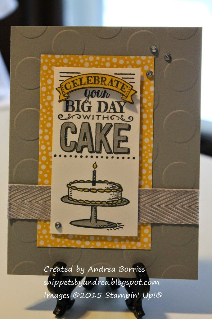 Smoky Slate and Daffodil Delight birthday card made with Big Day stamp set.