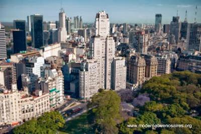 Vista aérea del edificio Kavanagh en Ciudad de Buenos Aires