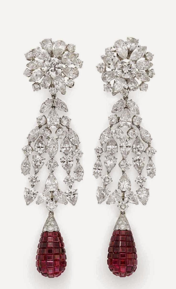 Pair Of Vintage Invisible Set Ruby And Diamond Cascade Earrings By Van  Cleef U0026 Arpels