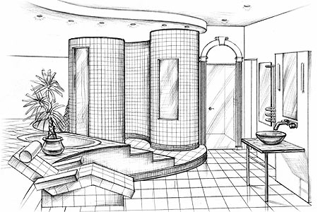Interior design sketches inspiration with simple ideas for Bathroom designs drawing