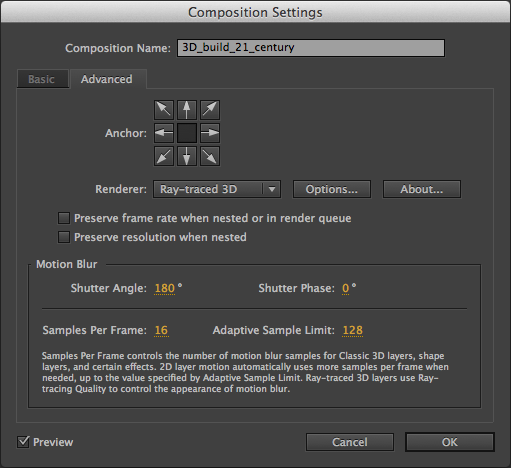 Setting the Composition Settings to Ray-traced 3D in Adobe After Effects.