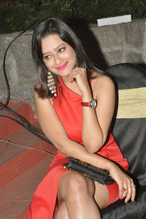 Madalasa Sharma looks cute in lovely leg split Red Gown at Yevade Subramanyam Audio Launch