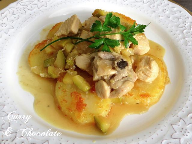 Pollo al champán con calabacín y patatas