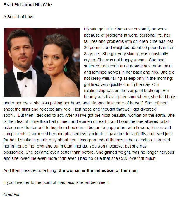 Blogging for Myself: A Personal Note: Brad Pitt about Angelina Jolie