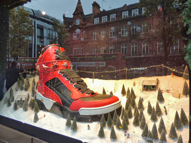 Red and black hi-top trainer invades Christmas display