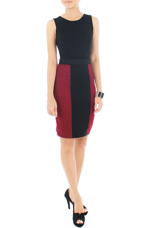 Illusion Two Tone Pencil Skirt – Burgundy