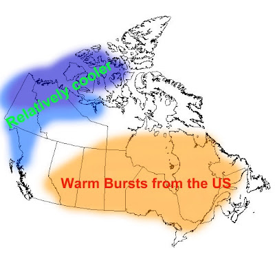 in Southern Canada will experience warmer than normal conditions