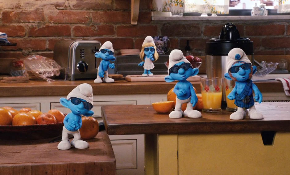 Smurfs wearing sunglasses