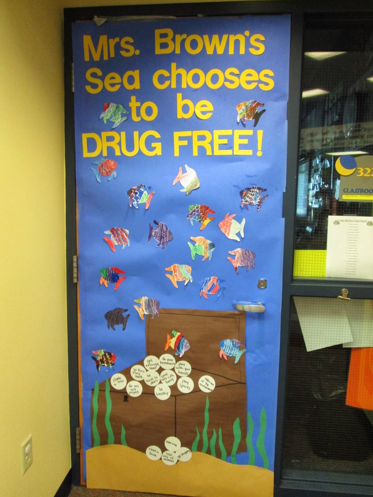 Adventures in third grade red ribbon week ocean door decoration each student decorated a fish white crayon and watercolors for our door and we brainstormed pearls of wisdom activities that we would rather do than get vtopaller Choice Image