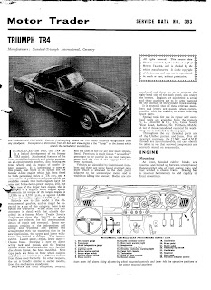 Triumph TR4 Motor Trader article from June 1962 front page