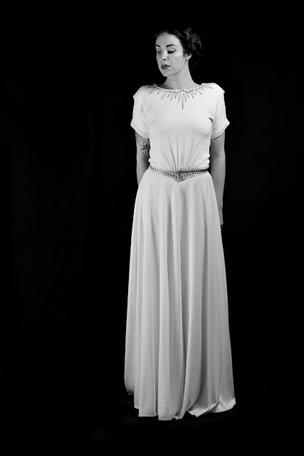 Alexandra King bridal 1940 ivory crepe wedding dress