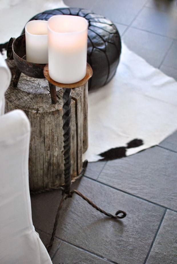 skiffergolv trästubbe kohud golvljusstake
