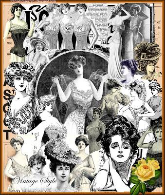 collage vintage hecho con anuncios de publicidad antigua de corsés
