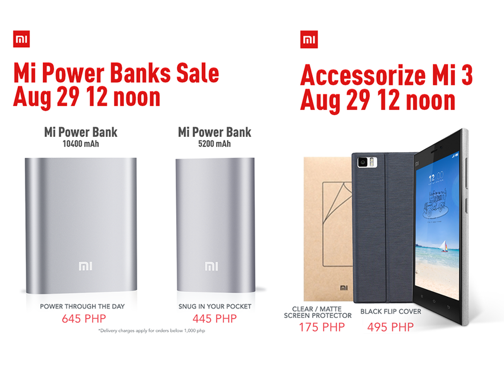 Xiaomi Mi Power Banks and Mi 3 Accessories will be on Sale on August 29, 12nn
