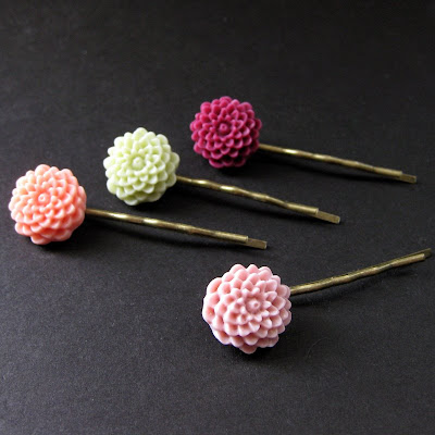 Chrysanthemum Flower Hair Pins in Sweet Spring Colors