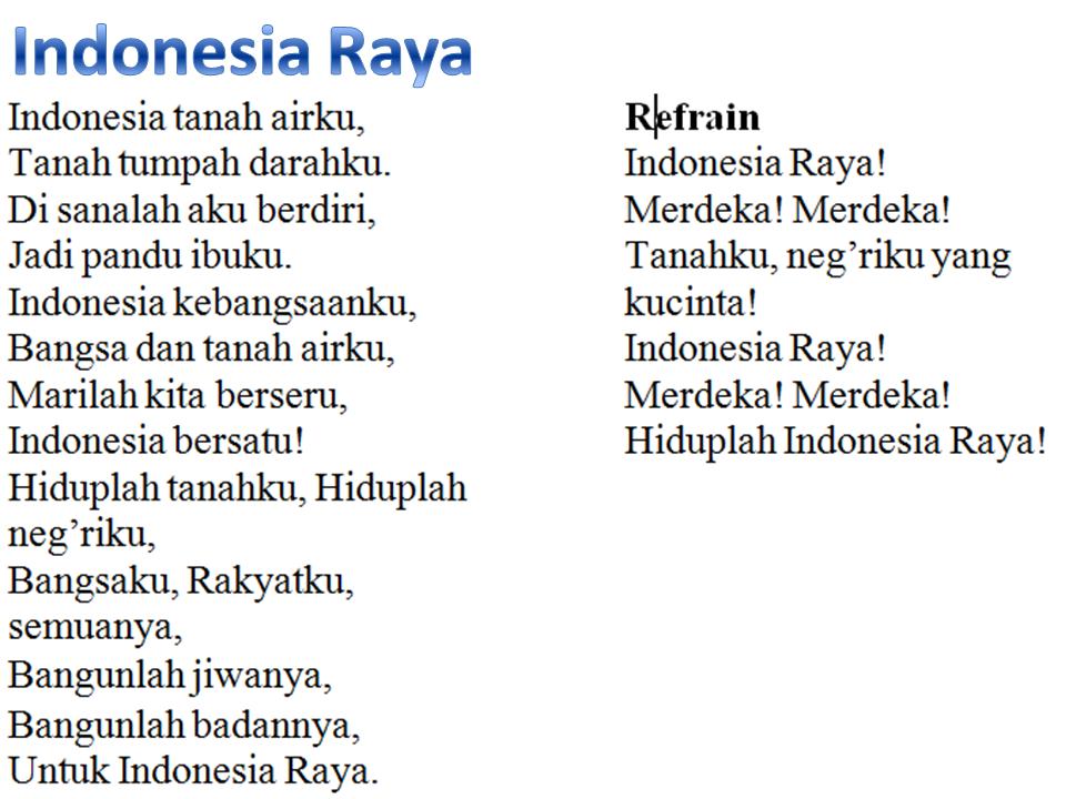 Lirik Lagu Indonesia Raya Marioatha.blogspot.com