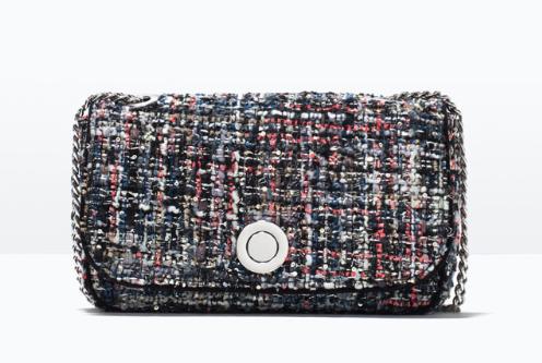 Clon bolso tweed Chanel by Zara SS 201