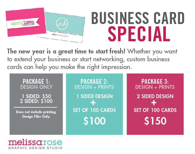 Melissa rose graphic design studio business card special for Special business cards