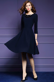New 2016 Three Quarter Sleeve Sequin Collar Dark Blue Flare Dress