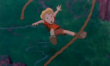 "Cody falling ""The Rescuers Down Under"" 1990 animatedfilmreviews.blogspot.com"
