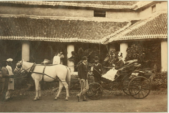 British Family in India in front of their House - 1875