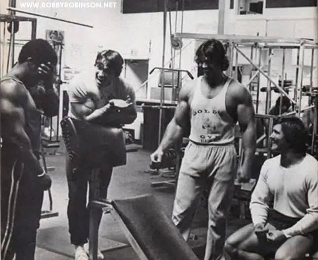 ROBBY ROBINSON, ARNOLD SCHWARZENEGGER, DENNY GABLE AND ROGER CALLARD - GOLD'S GYM TRAINING AND FILMING OF PUMPING IRON ● www.robbyrobinson.net//dvd_master_class.php ●