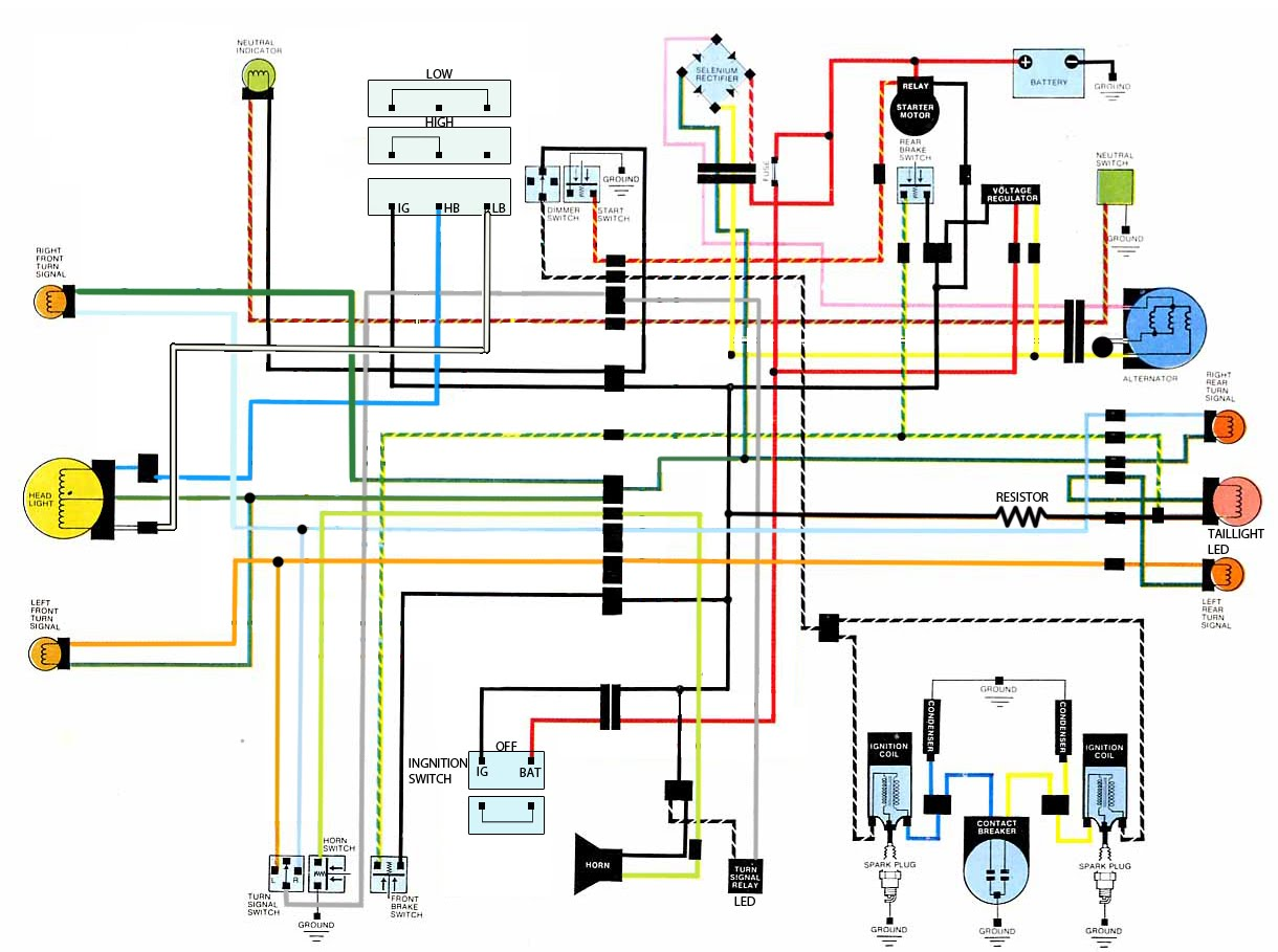 CB500T%2Bwirediagram let's see some chopped wiring diagrams! Wiring Harness Diagram at virtualis.co