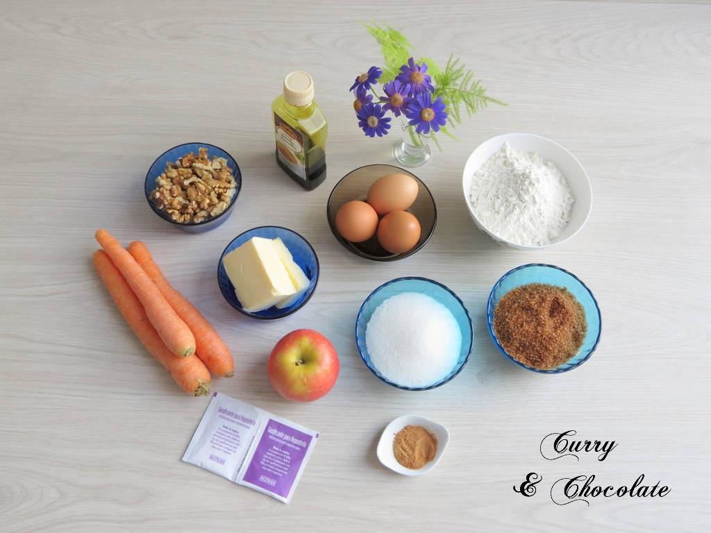 Ingredientes bizcocho de zanahorias y manzana