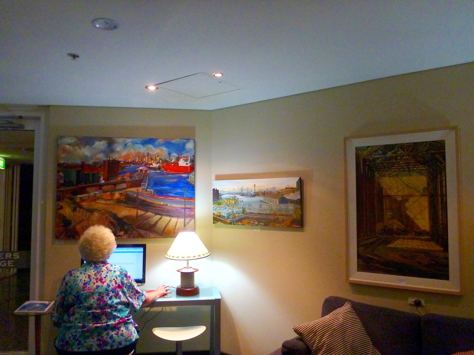 exhibition of Pyrmont paintings by industrial heritage artist Jane Bennett in the members lounge of the Australian National Maritime Museum