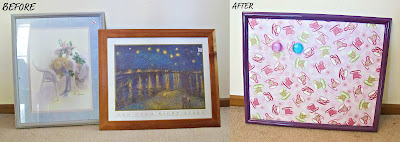 image before and after repurposed picture frames into magnetic noticeboards