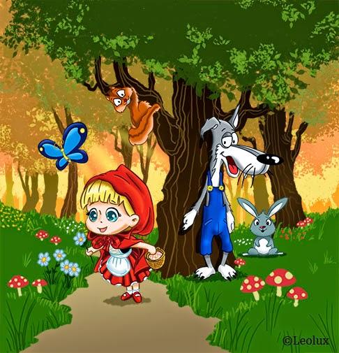caperucita, lobo, bosque, ilustracion,