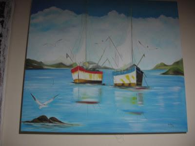 quadro a óleo paisagem com barcos
