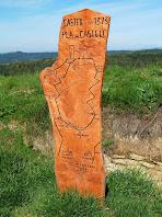 Plafó de fusta amb els principals camins al Castell de Gurb existents al 1373