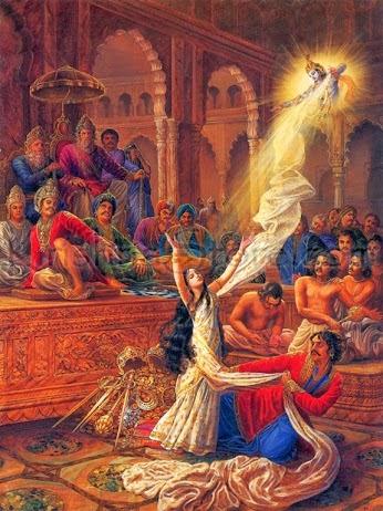 Krishna saved Draupadi