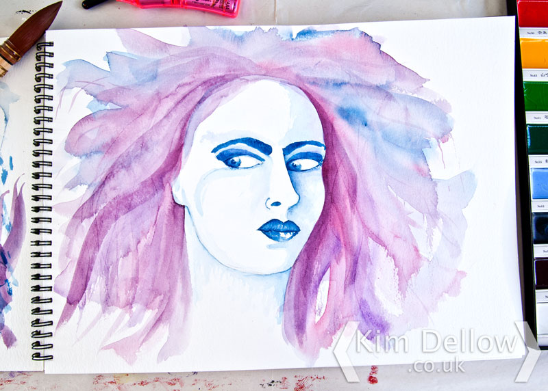 Finished Watercoloured portrait of a woman