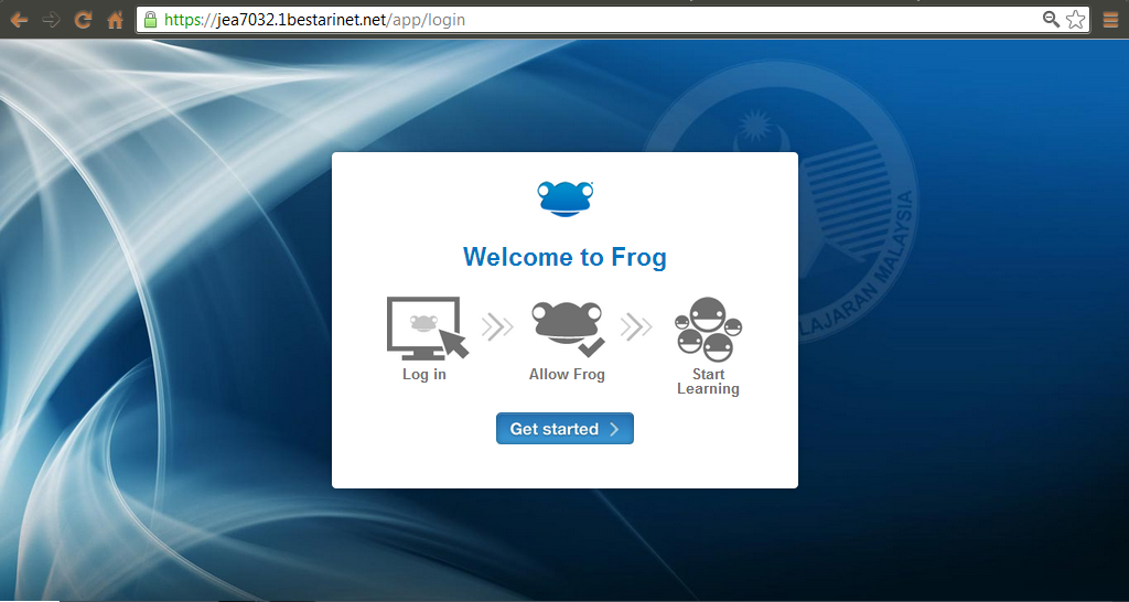 Frog VLE : Tutorial: Log in Frog