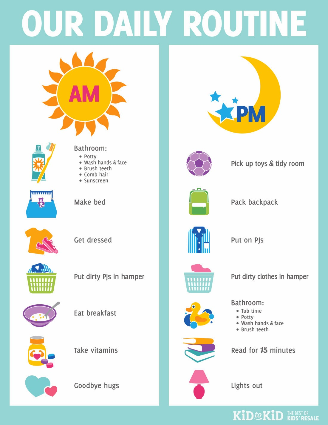 kids daily routine chart template